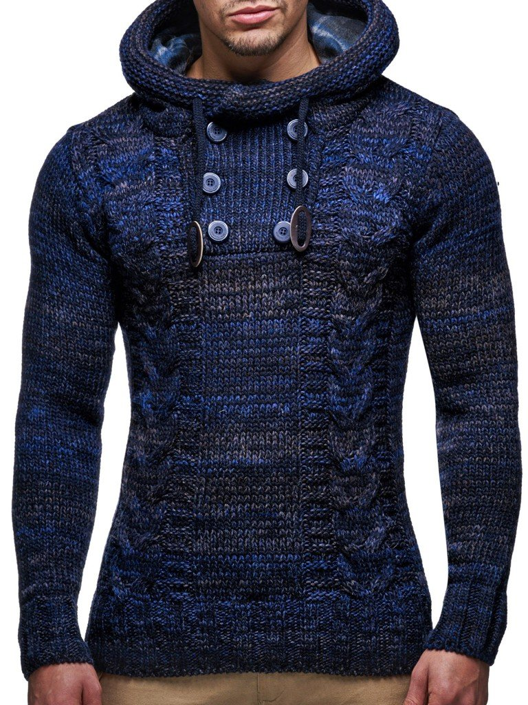Leif Nelson LN20227 Men's Knitted Pullover,Dark Blue,US-L / EU-XL