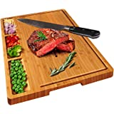 HHXRISE Large Organic Bamboo Cutting Board for Kitchen with Tray, with 3 Built-in Compartments and Juice Grooves, Heavy…