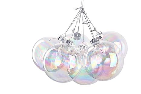 95b6f7175b6 6 bolas de Navidad redondas iridiscentes de cristal de 8 nbsp cm cada una