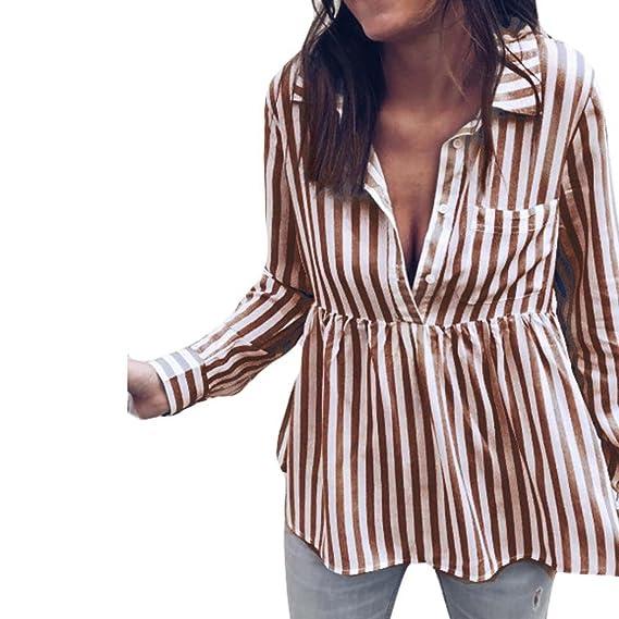 Top con Rayas de Mujer Casual Camiseta Señoras Manga Larga Suelta Parte Superior Blusa Moda 2018