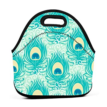 d6dc45dca93d Amazon.com: Lunch Boxes for Kids-Teal Peacock Feathers Lunch Bags ...