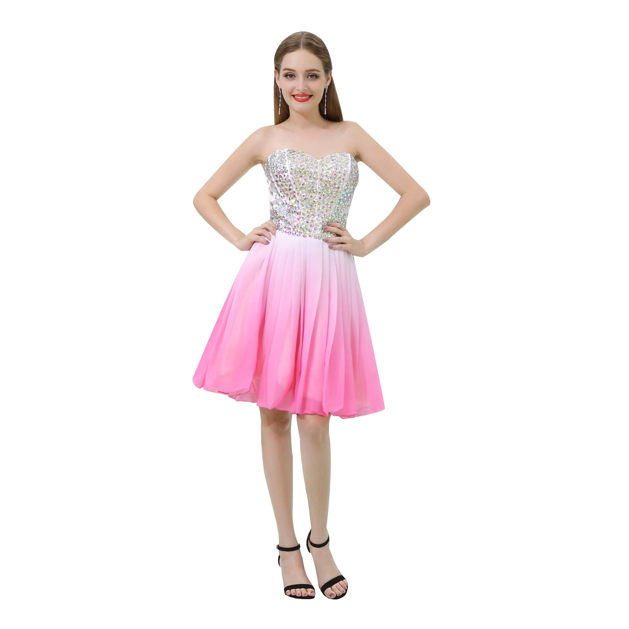 Blevla Strapless Beading Bodice Gradient Chiffon Short Prom Gown Homecoming Dresses Pink US 8
