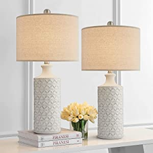 PORTRES 24.75'' Modern ContemporaryCeramic Table Lamp Set of 2 for Bedroom White Desk Decor Lamps for Living Room Study Room Office Dorm Minimalist Bedside Nightstand Lamp End Table Lamps