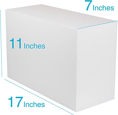 Silverlake Large Craft Foam Block - 11x17x7 EPS Polystyrene Blocks for Crafting, Modeling, Art Projects and Floral Arrangements - Sculpting Blocks for DIY...