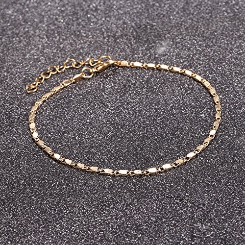 Women Simple Gold Chain Anklet Ankle Bracelet Barefoot Sandal Summer Beach Foot Jewelry