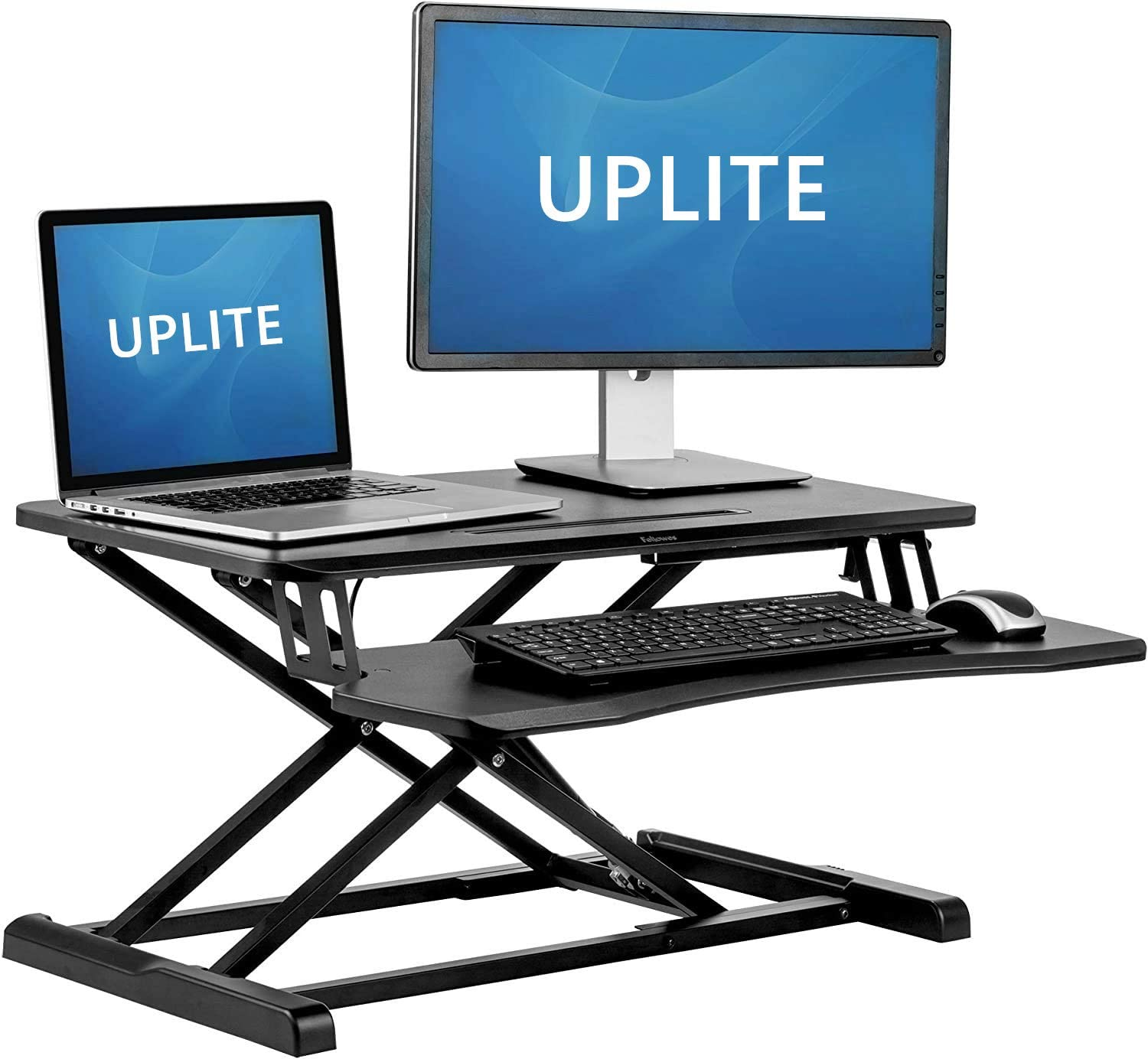 Uplite Standing Desk Converter Laptop And Monitor Sit Stand Workstation With Height Adjustable Black Amazon Ca Home Kitchen