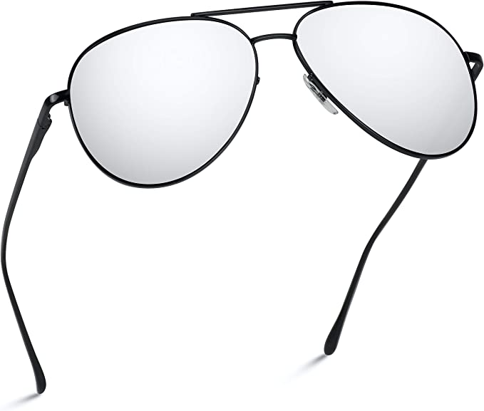 Excellent Quality Silver Mirrored Lenses Aviator Sunglasses With Free Case