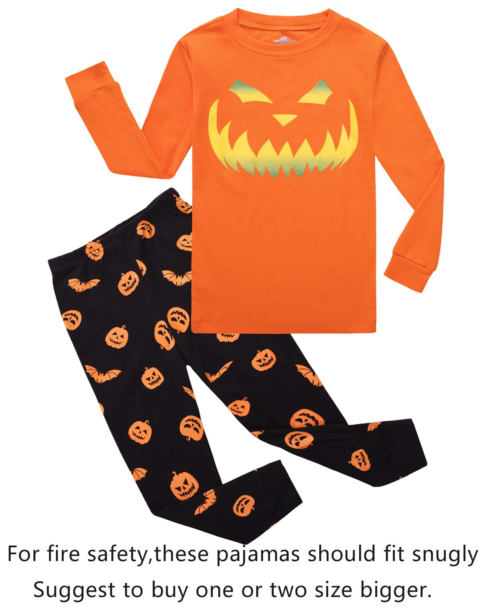 Halloween Pumpkin Big Boys Girls Pajamas Sets Pjs Sleepwears Size 12