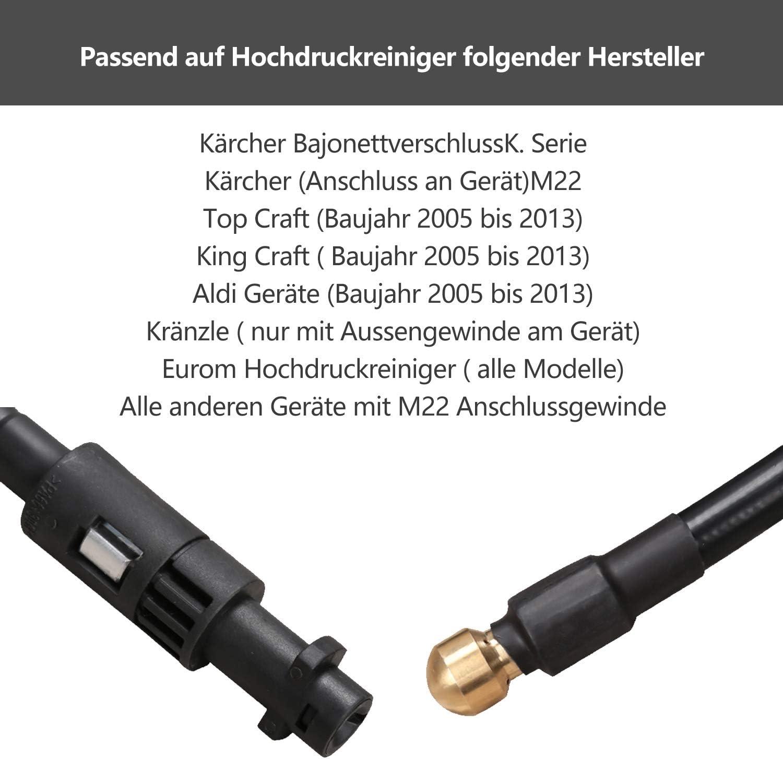 D/üse Rotierend Parkside Rohrreinigungsset geeignet f/ür K/ärcher Lavor Rohrreinigungsschlauch f/ür Hochdruckreiniger 200 bar KNOFER D/üse Starr 30m Bosch Professional