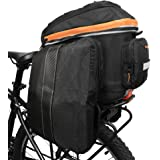 Ibera 2 in 1 PakRak Commuter Bicycle Trunk Bag with Expandable Panniers, Clip On Quick Release Design and Detachable…