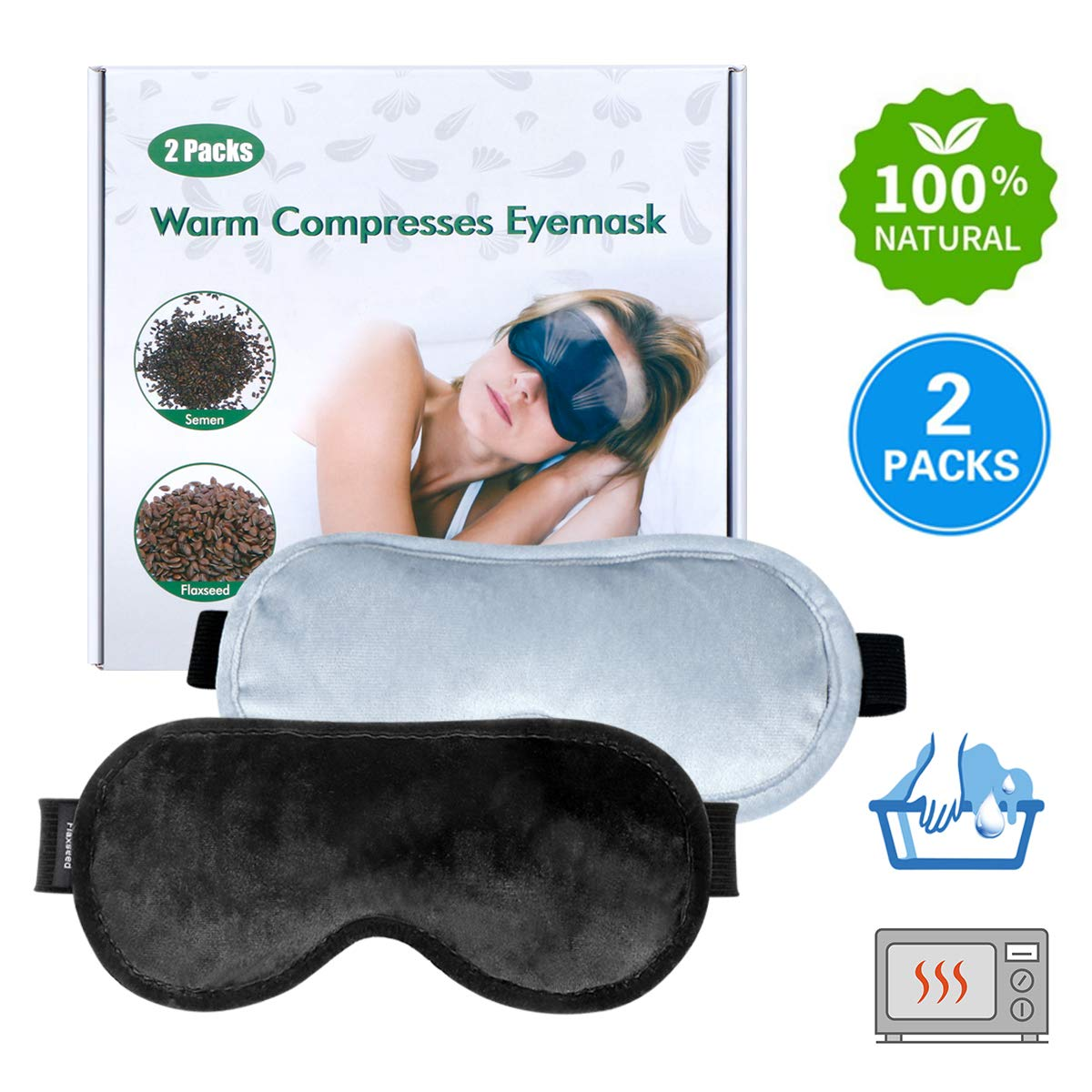 Dry Eye Mask Moist Heat Eye Compress(2 Packs), TOPOINT Microwave Hot Eye Mask with Washable Cover, Flaxseed Cassia Seed Sleep Mask Healthy Therapies by Topoint