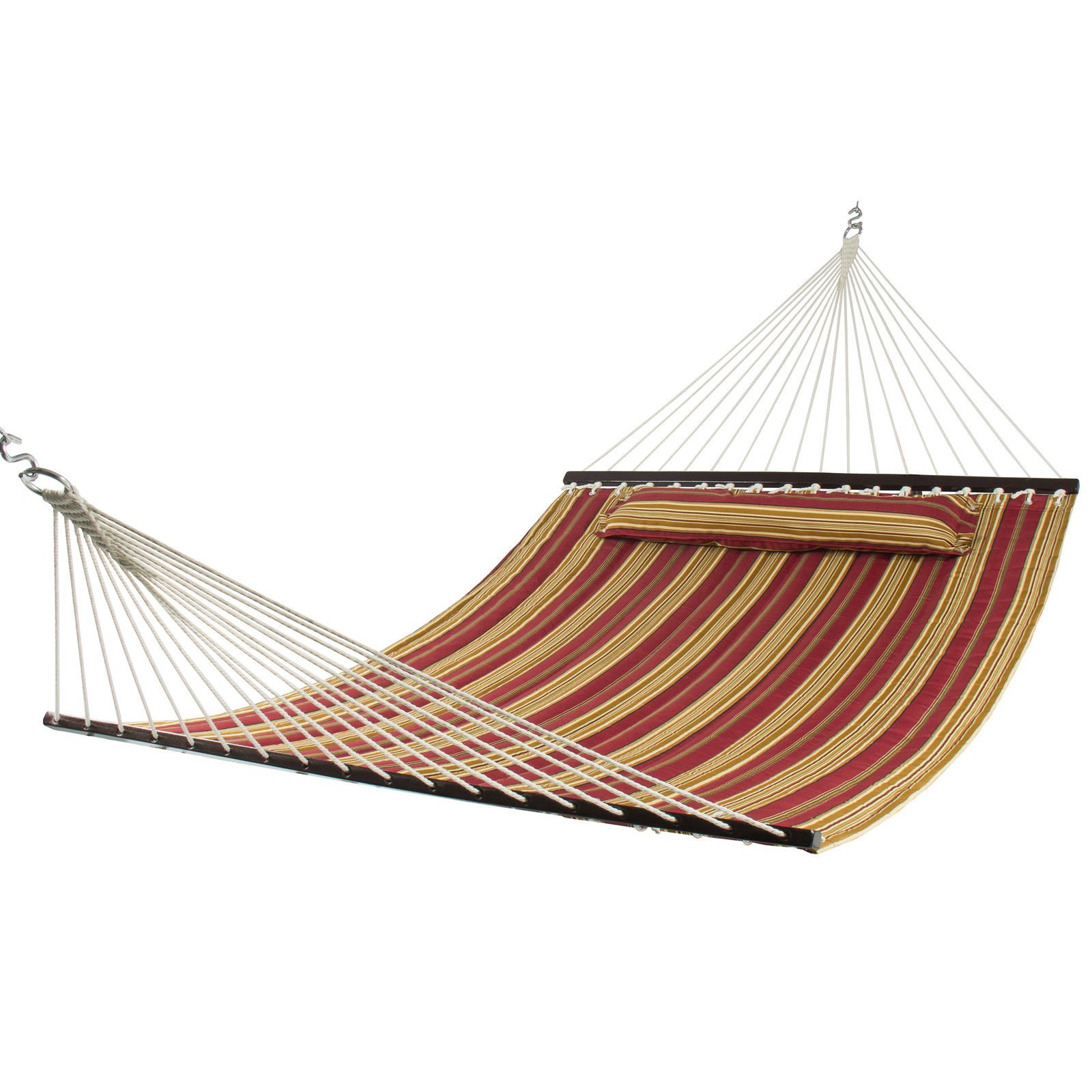 Hammock Quilted Fabric w/ Pillow Double Size Spreader Bar Heavy Duty Stylish by CS_SHOP