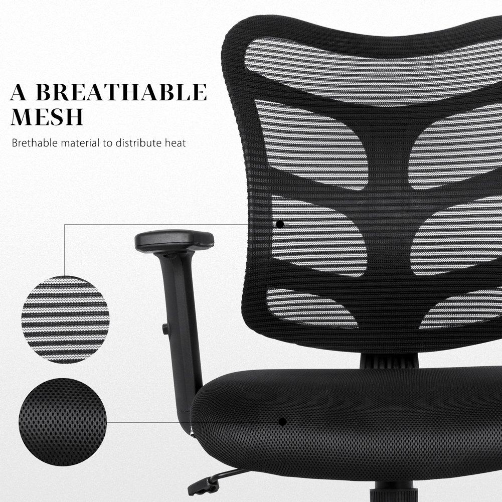 NKV Ergonomic Office Chair Mesh Computer Desk Chair Swivel Task Chair with Adjustable Armrests (Black) by NKV (Image #4)
