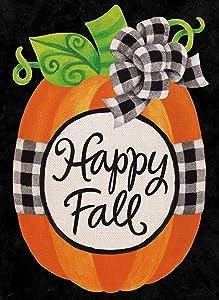 Covido Home Decorative Pumpkin Garden Flag, Happy Fall House Yard Outdoor Welcome Decor Buffalo Plaid Check Sign, Farmhouse Autumn Outside Decoration Seasonal Burlap Small Flag Double Sided 12 x 18