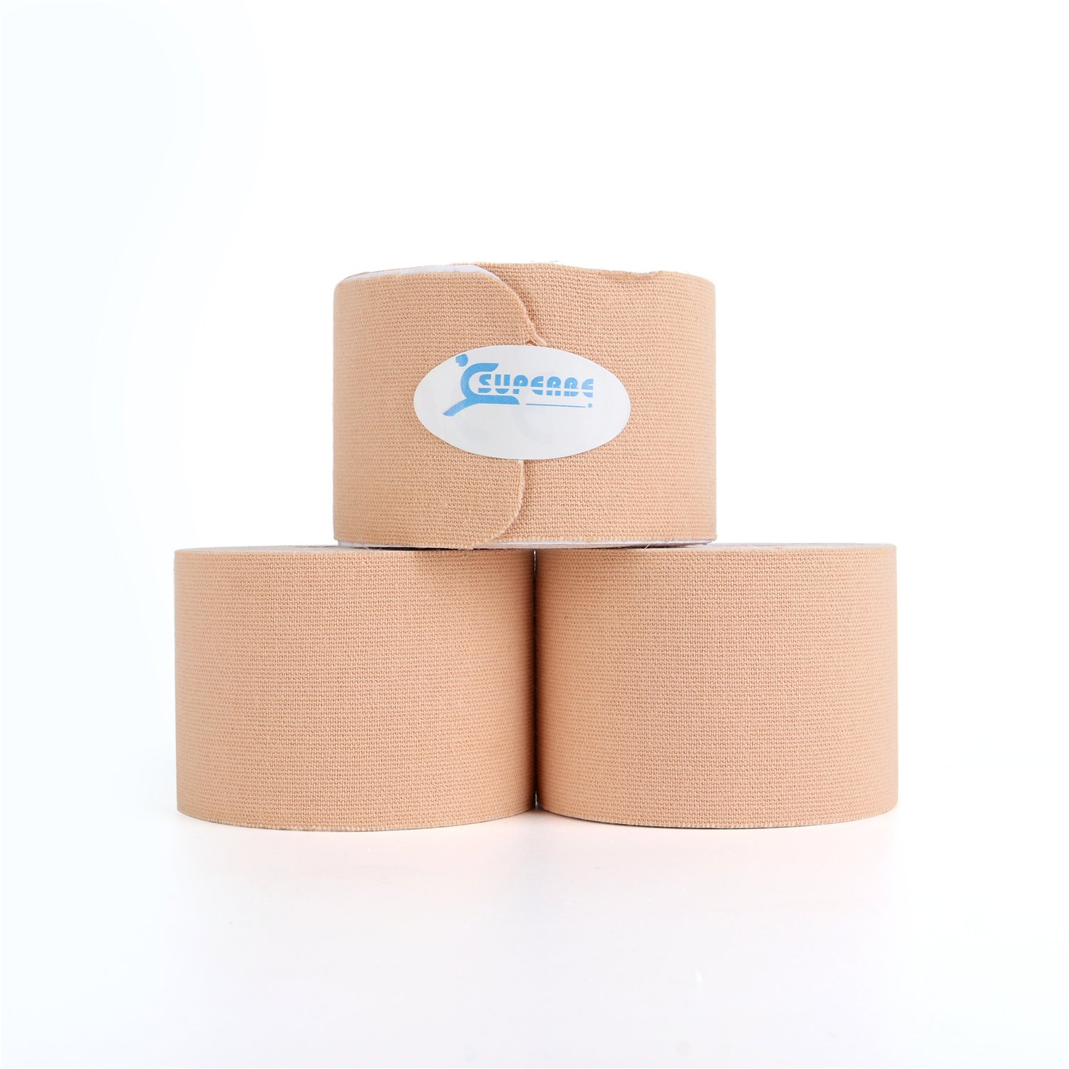 Superbe Precut Kinesiology Tape (3 Rolls Pack), Elastic Sports Tape for Pain Relief, Muscle Support, Recovery and Physio Therapy, Breathable, Waterproof, 2 Inch x 16.4 feet (Beige)