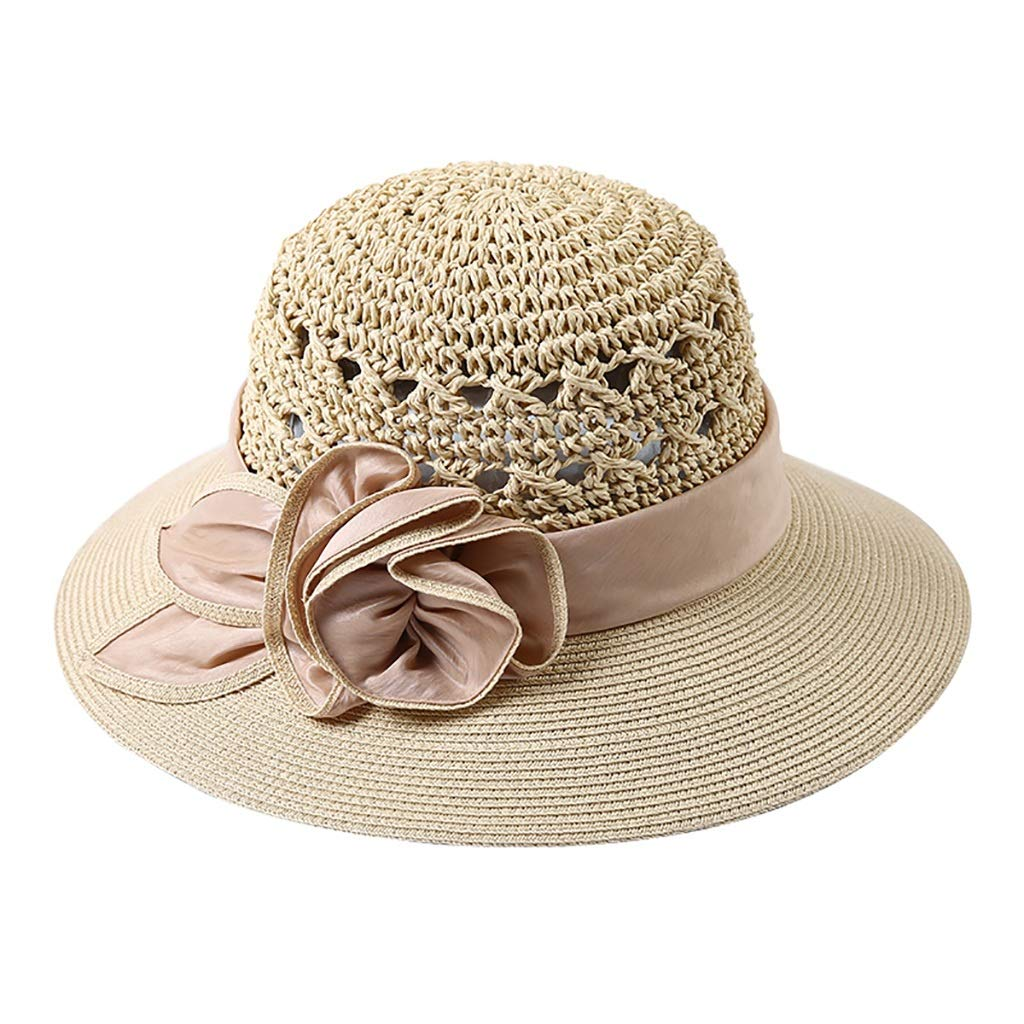 Beige Straw Hat HandWoven, Seaside Resort Beach Sunhat Sunscreen (color   bluee)
