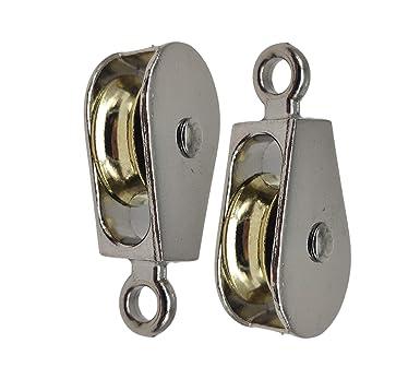 DOJA Industrial |(Pack de 2) unidades de Poleas Individuales de acero niquelado | Diámetro: 20mm | Polea tamaño pequeño | Gancho fijo | Capacidad de ...