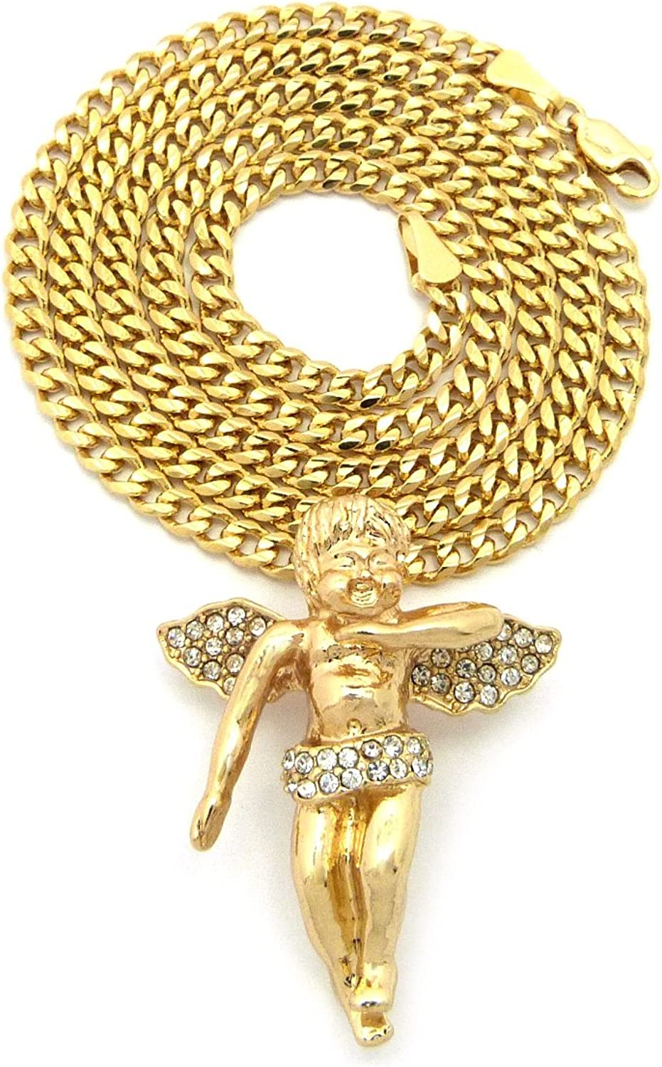 Gold Tone Micro Baby Angel Pendant 3mm 24 Concave Cuban Chain Necklace MMP2GCDC