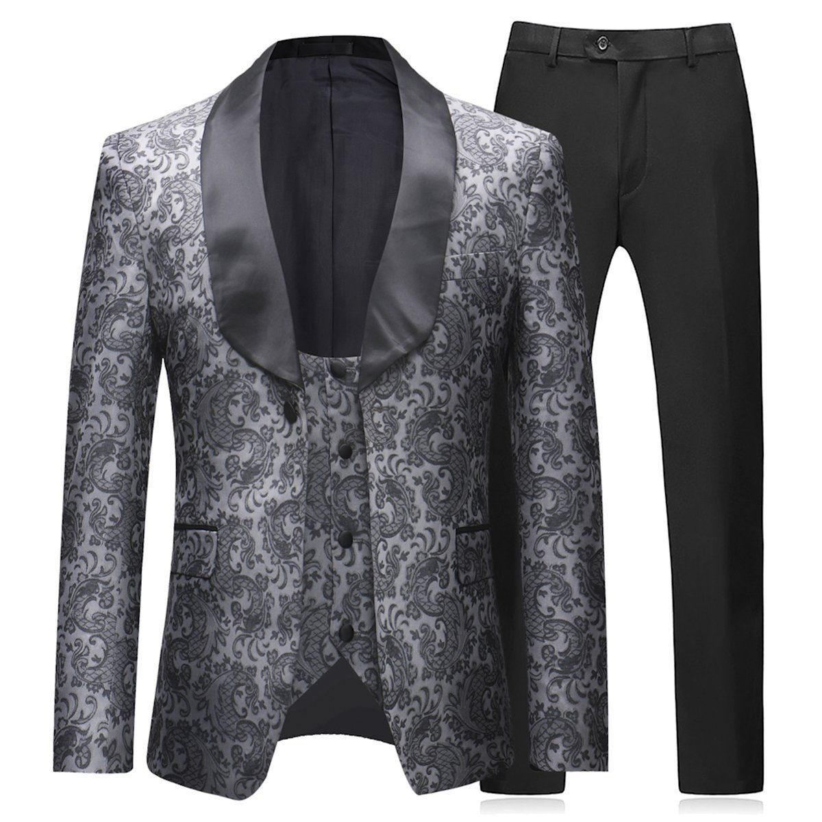 2c8a2e42404 reat Material  The gray tuxedo suits made of Polyester Jacquard
