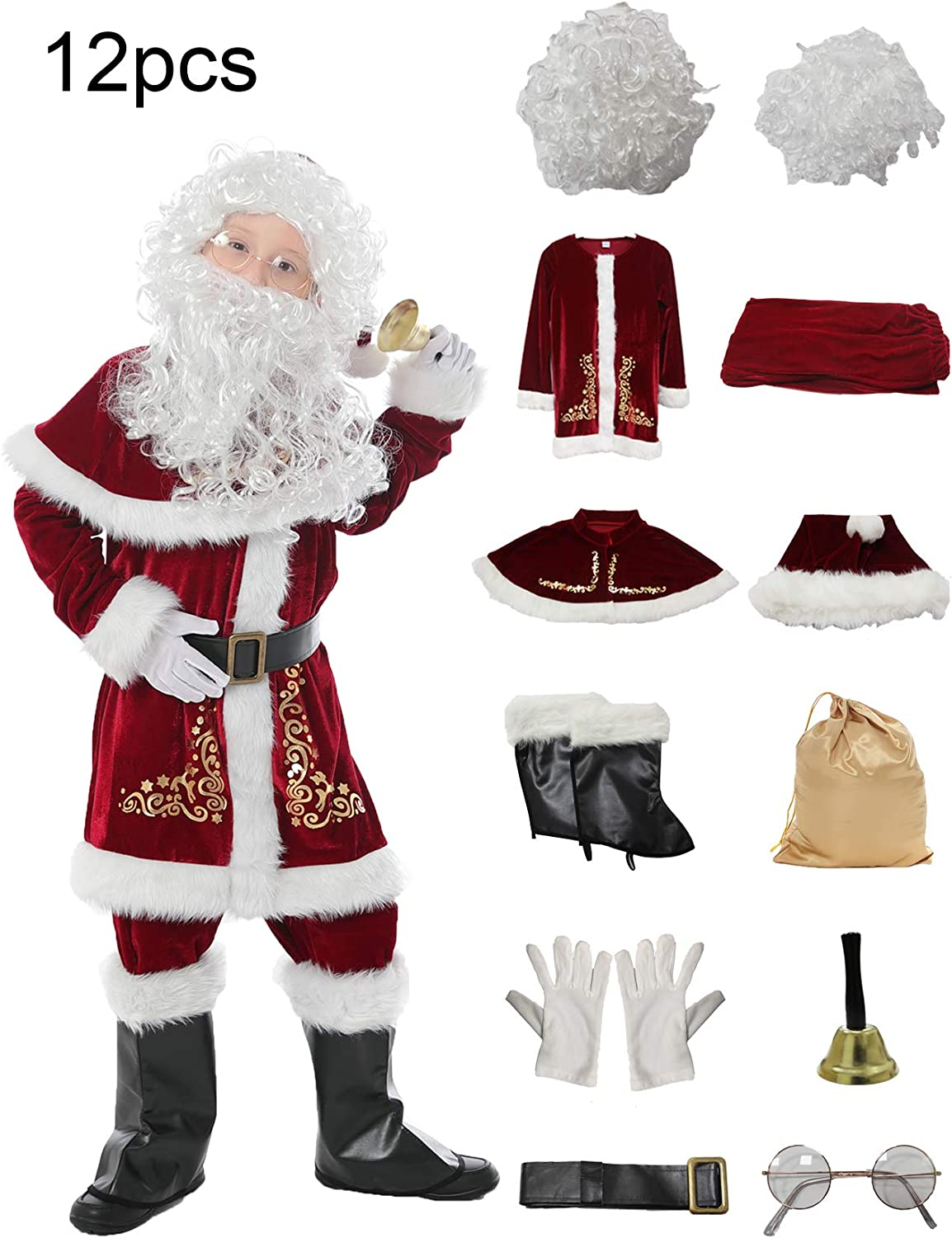 Halfjuly Santa Costume for Kids 12pcs Set Christmas Party Santa Claus Suit for Boys Red Deluxe Velvet Child Cosplay