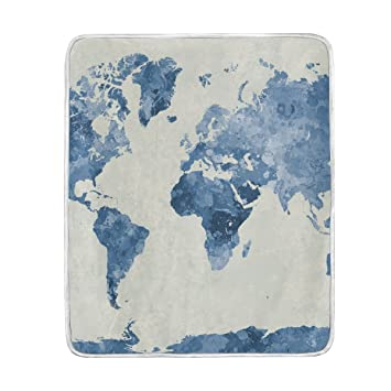 Amazon sunlome watercolor blue world map print soft warm cozy sunlome watercolor blue world map print soft warm cozy throw blanket 50quot x 60quot gumiabroncs Images