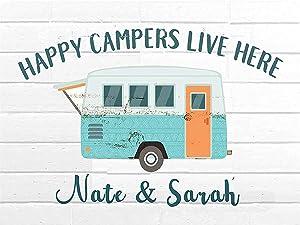 WDSLSING Personalized Camping Decoration Sign, Travel Trailer Decor, Happy Camper Decor, rv Camping Accessories for Campers, Camping Decorations for rv Campers,Home Deco idea