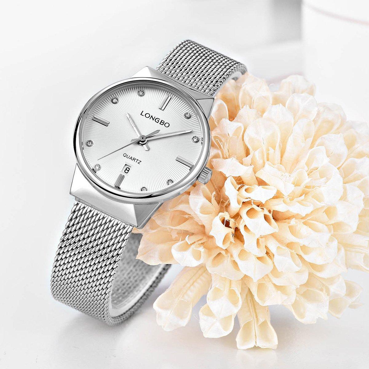 Amazon.com: LONGBO Luxury Womens Silver Metal Mesh Strap Analog Quartz Business Watch Auto Date Calendar Couple Dress Watch Waterproof Rhinestone Accented ...