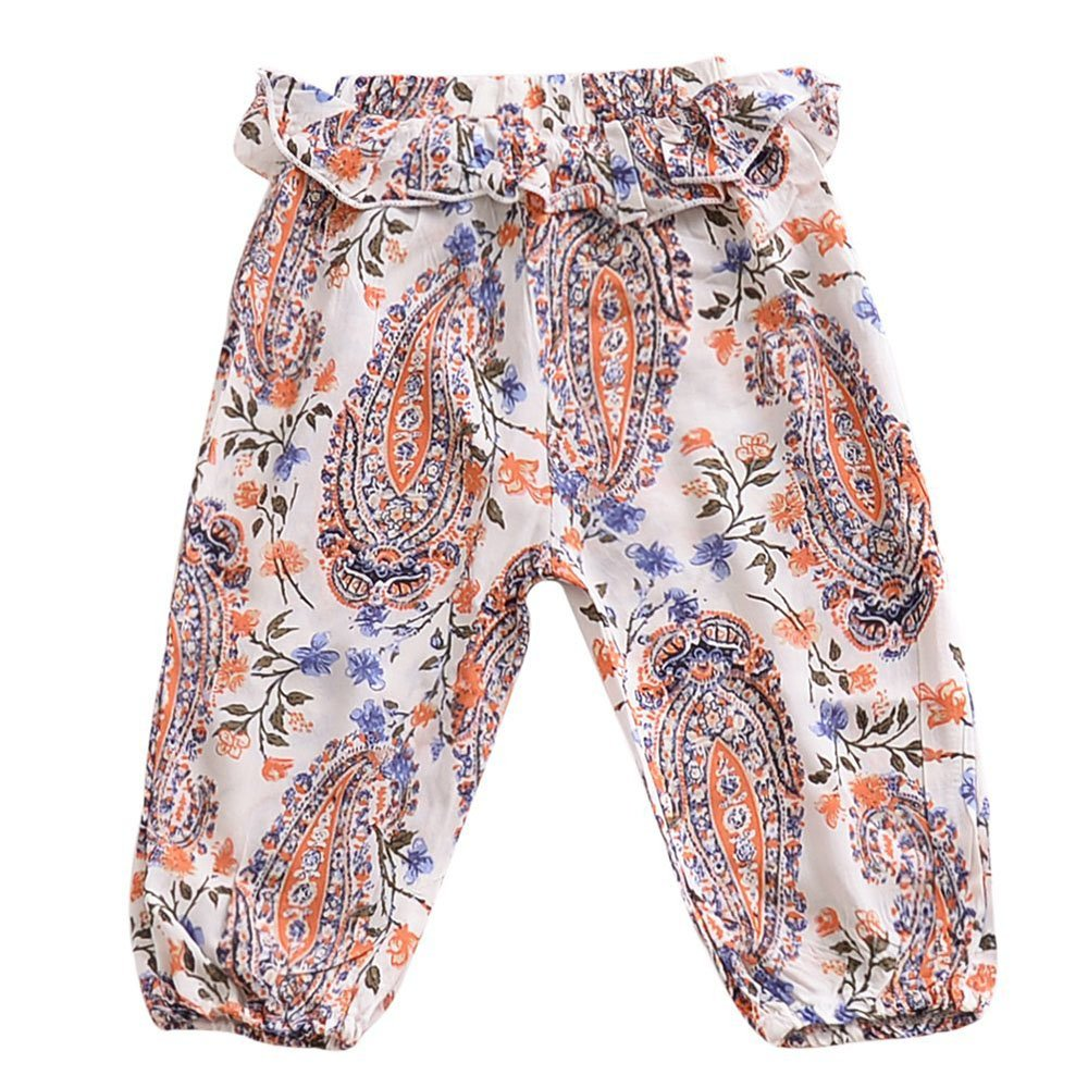 Children's Cotton Linen Air Conditioning Pants Girls Lotus Leaf Pants Children Mosquito Pants Printed Summer Underwear