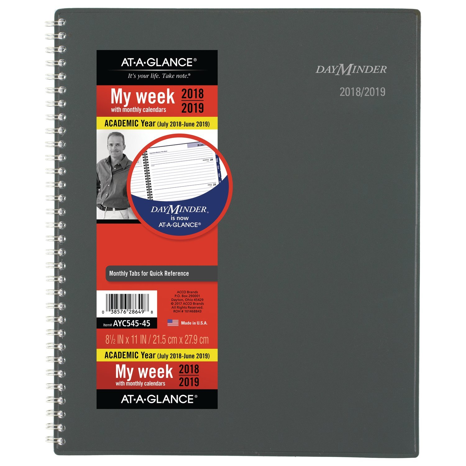at-A-Glance 2018-2019 Academic Year Weekly & Monthly Planner, Large, 8-1/2 x 11, DayMinder, Charcoal (AYC54545)