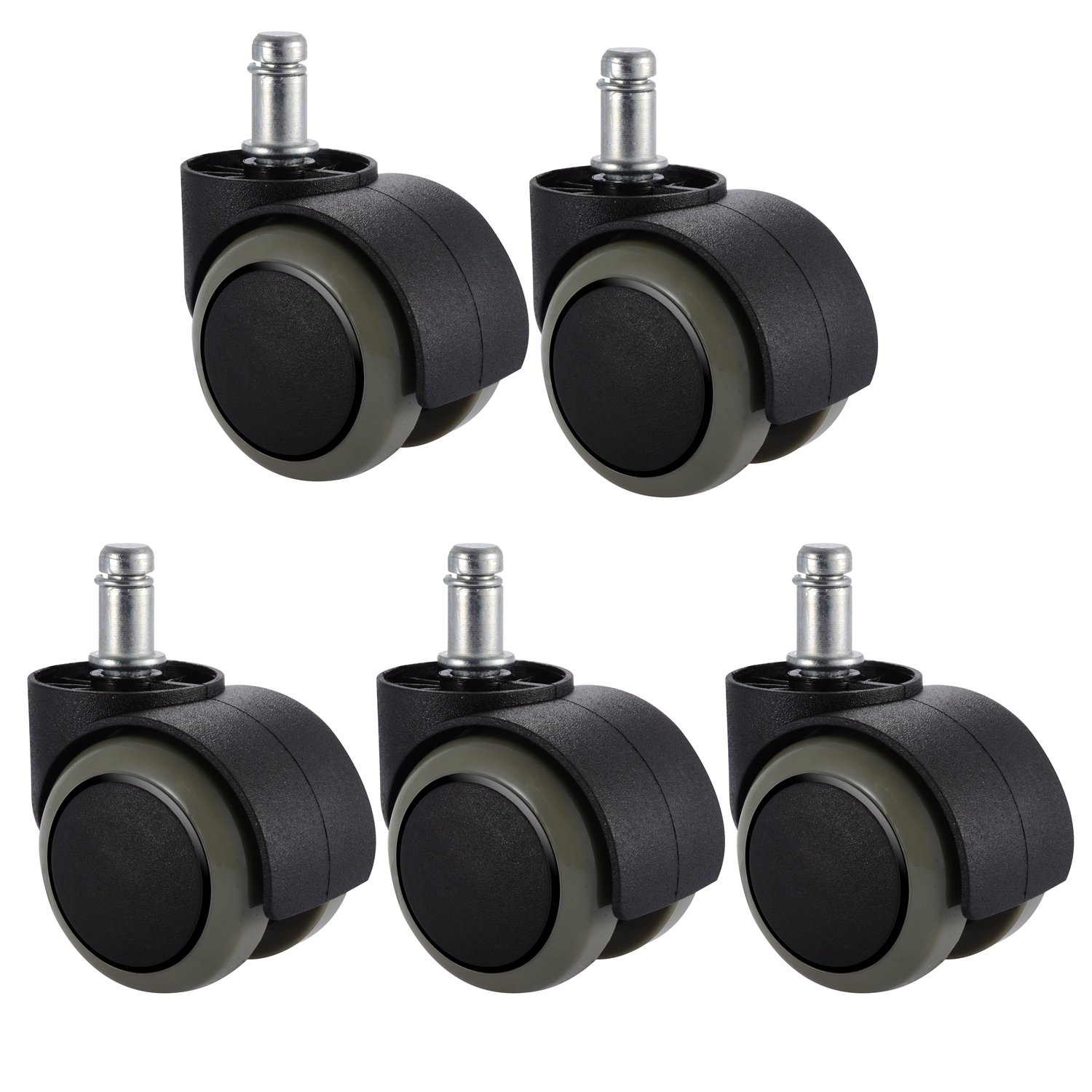 "PChero 5 Packs Office Chair Casters Wheels with Universal Standard Size 11mm Stem Diameter and 22mm Stem Length (7/16"" X 7/8""), Support up to 550LBs Weight"