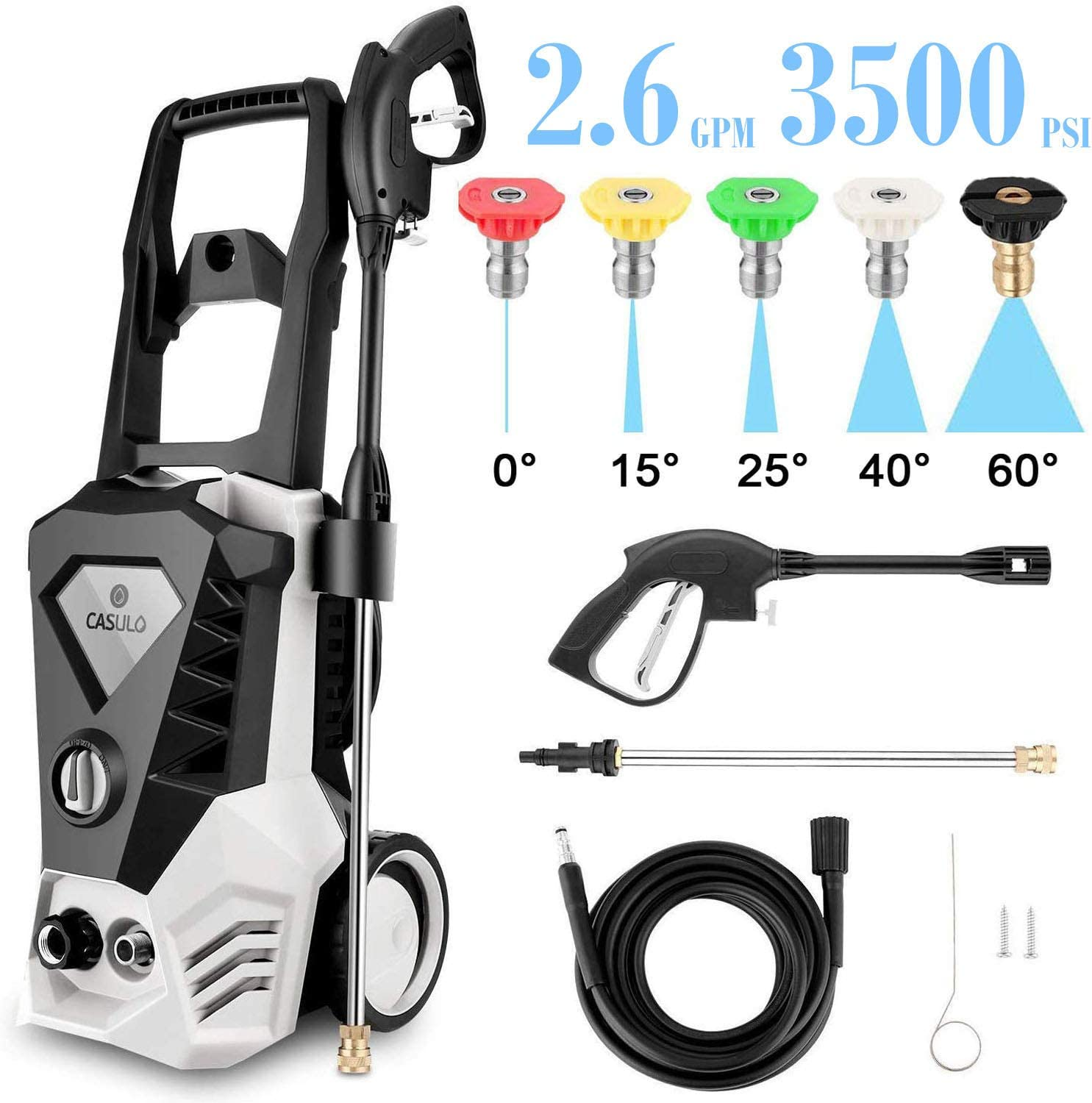 ROOJER Power Washer Electric High Pressure Washer 1800W, 3500 Max PSI 2.6 GPM Car Pressure Washer Patio Cleaner Machine with Spray Gun, 10m High Pressure Hose and 5 Interchangeable Nozzles (US Stock)