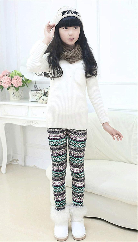 Girls Winter Thick Warm Long Pants Printing Fleece Lined Leggings