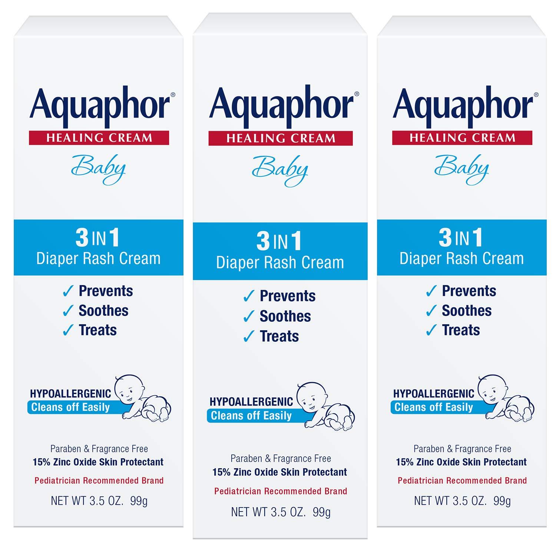 Aquaphor Baby 3 in 1 Diaper Rash Cream - Prevents, Soothes and Treats Diaper Rash - 3.5 oz. Tube (Pack of 3) by Aquaphor
