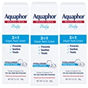 Aquaphor Baby 3 in 1 Diaper Rash Cream - Prevents, Soothes and Treats Diaper Rash - 3.5 OunceTube (Pack of 3)