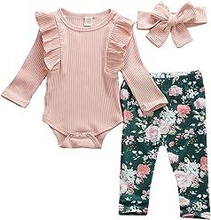 Blumen Hose Geagodelia Babykleidung Set Baby M/ädchen Langarm Body Strampler Stirnband Neugeborene Kleinkinder Warme Babyset Kleidung T-38207