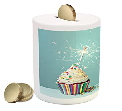 Lunarable Cupcake Coin Box Bank Ornamental Frosting And Rainbow Themed Birthday Cake On Pastel Colored