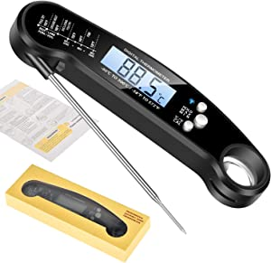 Waterproof Digital Instant Read Meat Thermometer Folding Probe Calibration Function for Cooking Food Candy, BBQ Grill, Calibration Bottle Opener for Kitchen (Black)