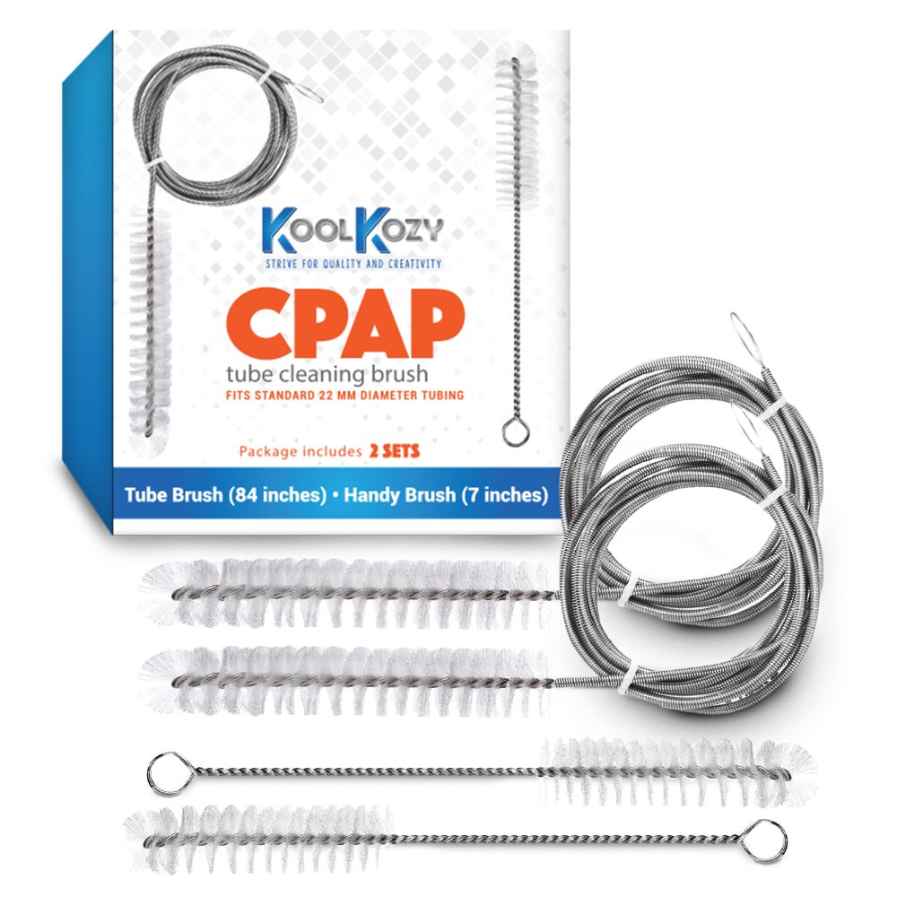 CPAP Tube and Mask Cleaning Brush Set for Standard 22 mm Hose, Made of Rustproof Stainless Steel and Soft Nylon Bristles by KoolKozy (4 Piece Set)