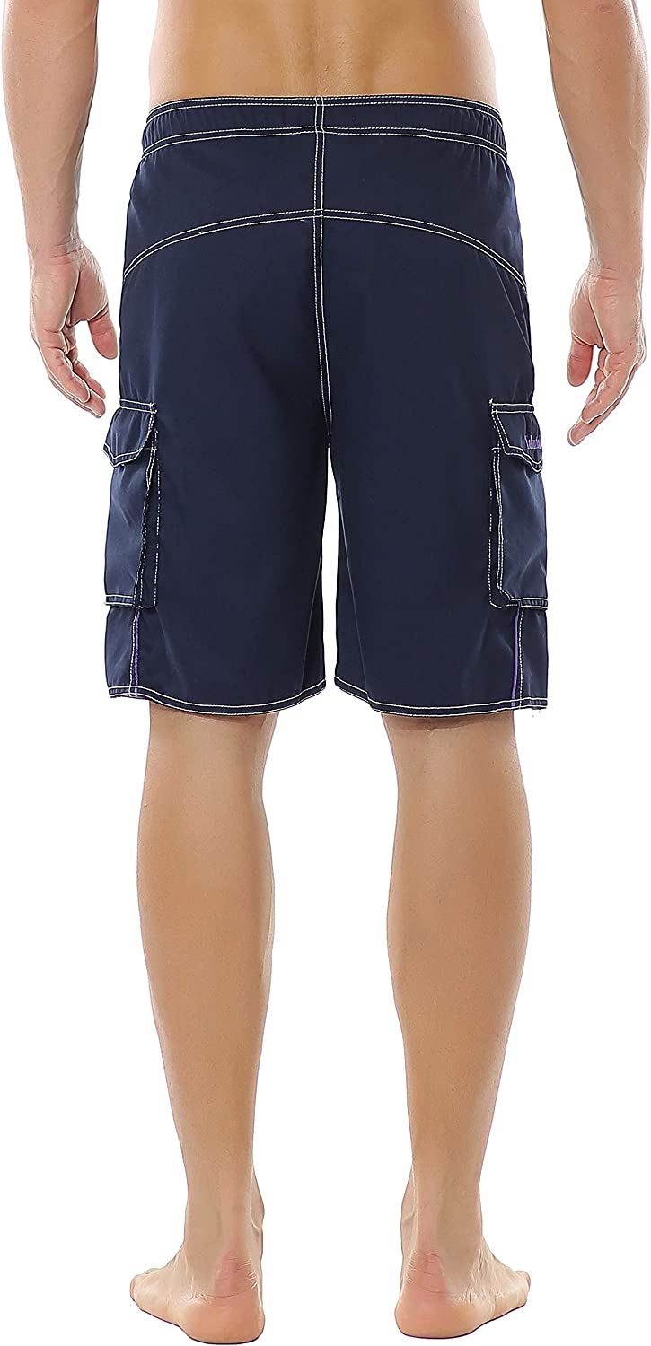 Yaluntalun Mens Swim Trunks Quick Dry Beach Board Shorts Solid Color Boardshorts with Mesh Lining