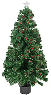 Northlight Pre Lit Color Changing Fiber Optic Christmas Tree With Red  Berries, 4u0027