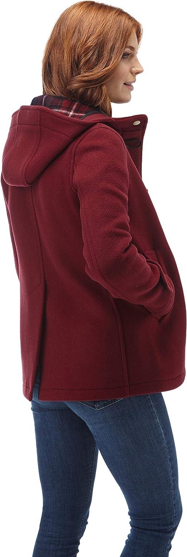 Original Montgomery Womens Leyton Classic Short Duffle Coat Horn Toggles Burgundy