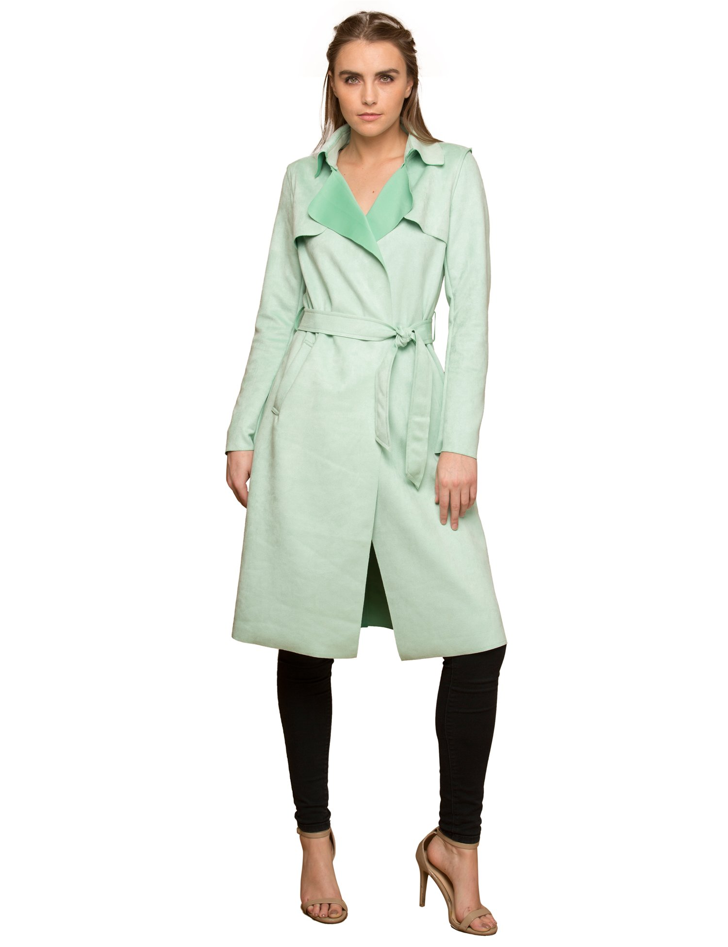 Lock and Love WJC1613 Womens Suede Coats Long Duster Jacket Trench Coat with Belt L Mint