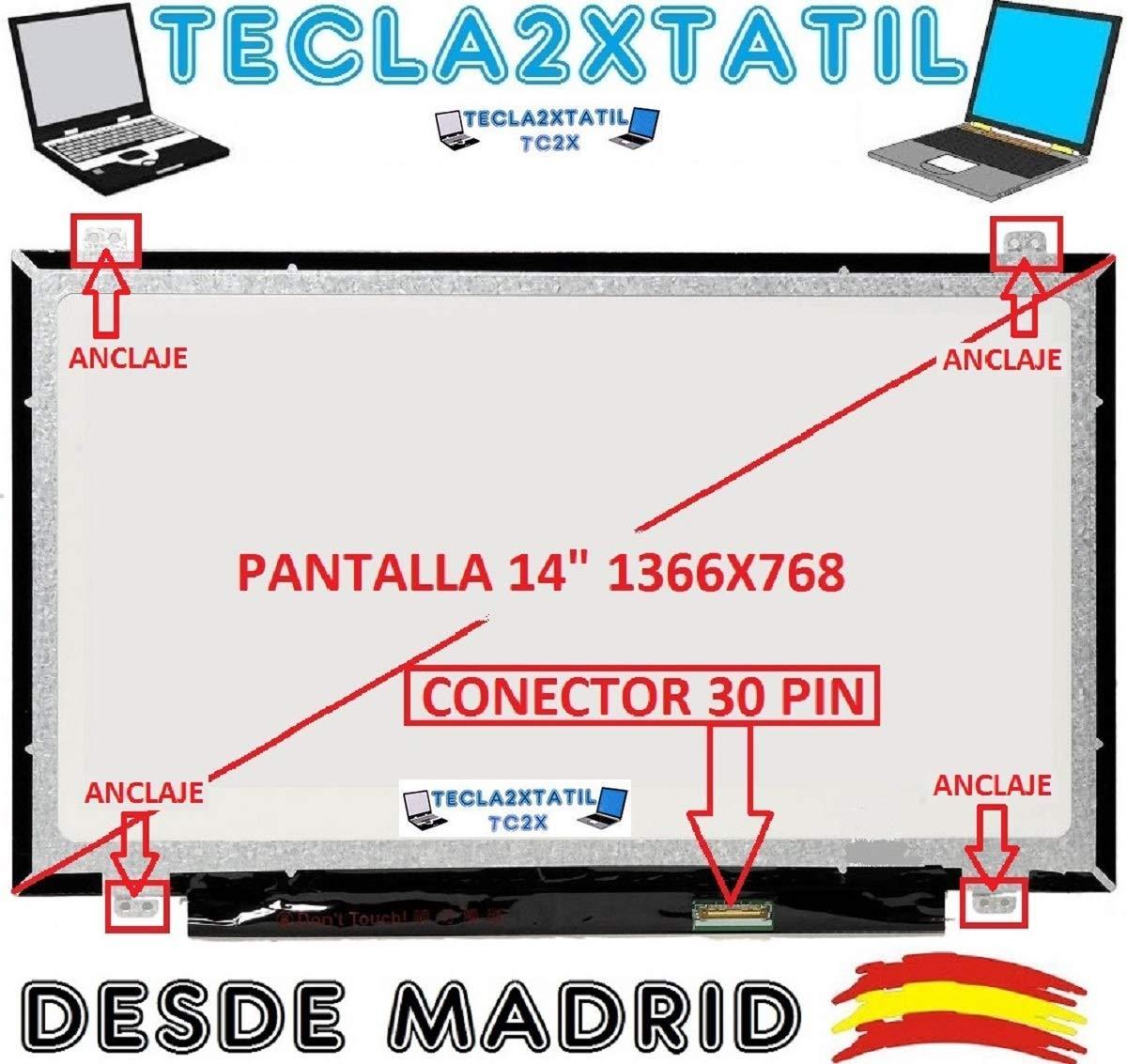 TECLA2XTATIL TC2X Pantalla Compatible DE Y para PORTATIL N140BGA-EA3 14 WXGA 1366x768 HD LED LCD 30 Pin Ver Foto