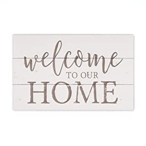 P. Graham Dunn Welcome to Our Home Whitewash 17 x 10.5 Wood Pallet Wall Plaque Sign