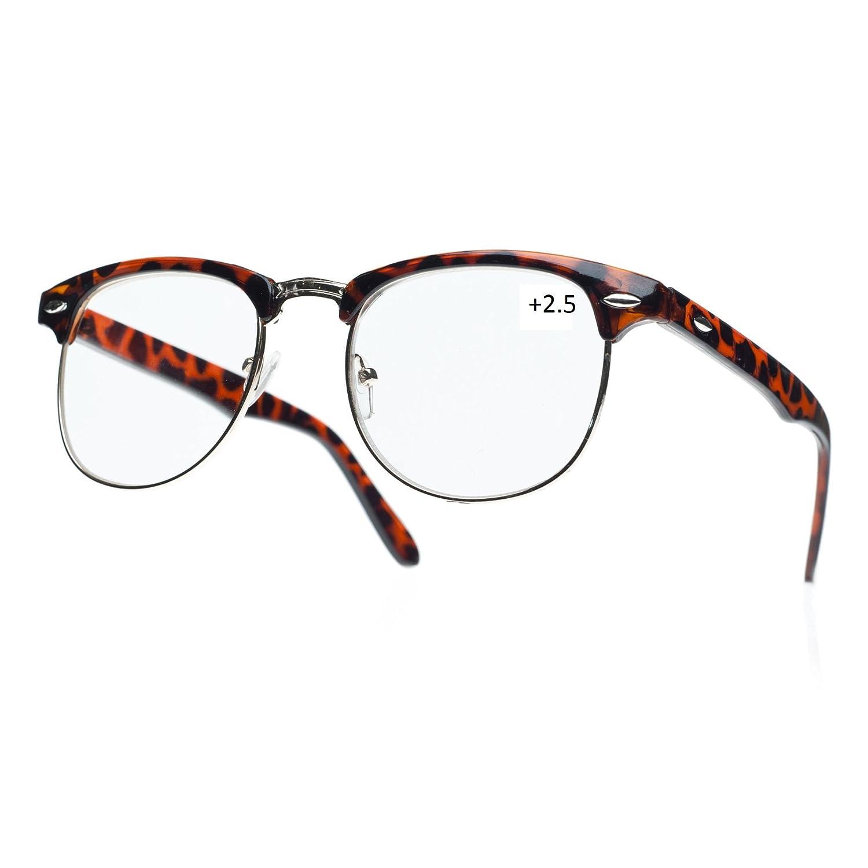 NEW UNISEX (Damen Herren) Retro Vintage schwarz +2.5 Lesebrille Brille Morefaz(TM)