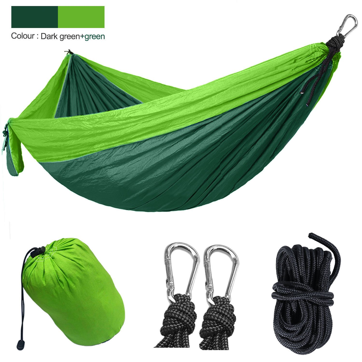 Yomodo Backpacking Hammock-Double Parachute Hammock for Backyard, Camping, Travel,Porch, Outdoor and Indoor Use-Lightweight Nylon Portable Hammock