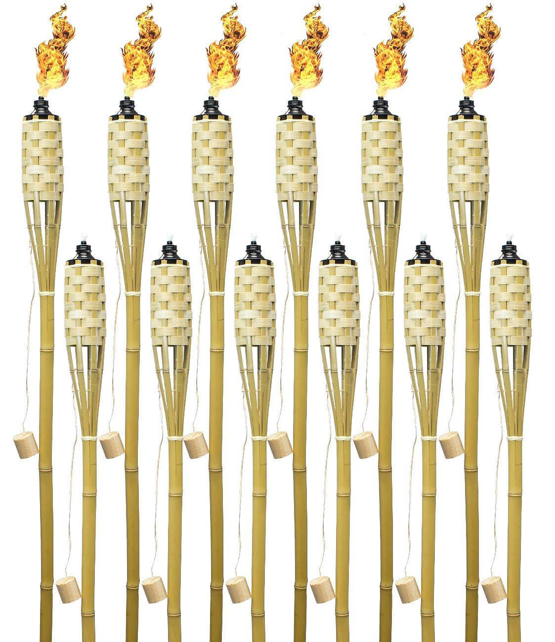 Matney Bamboo Torches – Includes Metal Oil Canisters with Covers to Protect from Rain – Great for Outdoor Decorating, Luau, Tiki Parties, Extra Long 60 Inches (Bamboo, 12 Pack)