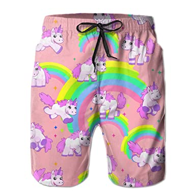 a5fb14bc8fae1 Amazon.com: Big Boy Quick Dry Cute Colorful Rainbow Unicorn Beach Shorts  Swim Trunks Board Shorts: Clothing