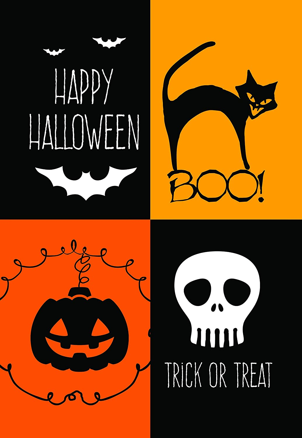 Lantern Hill Four Square Boo Halloween Garden Flag; Halloween Decoration; 12.5 x 18 inches; Double Sided Seasonal Decorative Banner