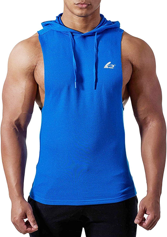 PAIZH Men Bodybuilding Tank Top Muscle Sleeveless Hoodies Shirt (XL,Blue)